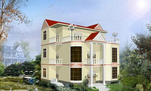 轻钢别墅64 农村三层房屋外观效果图